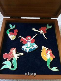 Disney Ariel Little Mermaid Wooden Boxed 5 Pin Set NIB