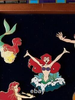 Disney Princess Ariel Seahorse Flounder Little Mermaid Wooden Boxed LE Pin Set