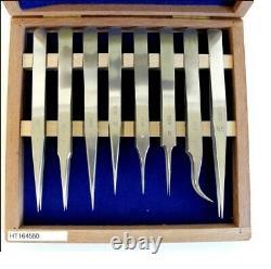 Dumont Set of 8 Dumont Inox. Hi-Tech Watchmakers Tweezers Wooden Box HT164550