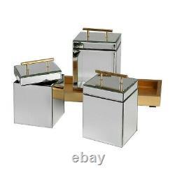 Faustina Modern Beveled Mirror Box Canister Set Metallic Gold XXL 20 Tray