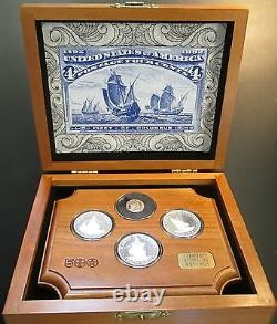 Fleet of Columbus 4 coin proof set! Limited Edition! Wooden tray and box