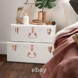 Glamorous Storage Trunks Chests Set Of 2 Vintage Style Metal Box Bedroom White