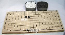 Go Game Set. Glass Stones. Double Convex. Boxed. Wooden Folding Board. New