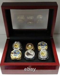 Golden State Warriors Championship 6 Ring Set W Wooden Box. Curry Durant Barry