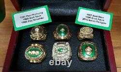 Green Bay Packers 6 Championship Ring Set. Favre Rodgers. With Wooden Box
