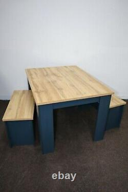 Hadley 120cm Dining Table and 2 Bench Set Aqua Blue New in the Box Flat packed