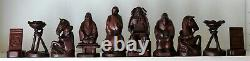 Hand Carved Japanese Chess Set in fitted box K =128mm Battle of Arita-Nakaide
