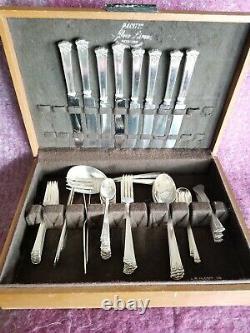 JS Sterling Co. Pat'd 1921 51 piece sterling flatware set in wooden box