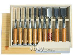 Japanese Hattori Carpenters Chisels 10pc Set in Wooden Box DT710016 FREE STONE