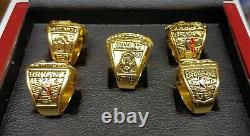 Kobe Bryant Los Angeles Lakers 5 Championship Ring Set With Wooden Display Box