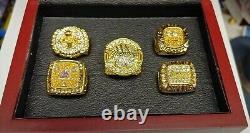 Kobe Bryant Los Angeles Lakers Championship 5 Ring Set With Wooden Display Box