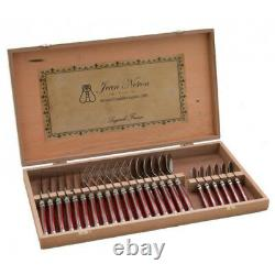 Laguiole 24 Piece Cutlery Set Wooden Gift Box by Jean Neron Red