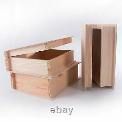 Large Plain Wooden Book Shaped Box Case/ Wood Trinket Storage Decoupage Craft