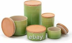Le Creuset (Set of 5) Canister, Palm Green Jar, Wood Lid Containers, NEW in Box