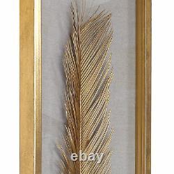 Luxe Tall Gold Palm Leaf Wall Art Set 3 Organic Shape Shadow Box Sculpture