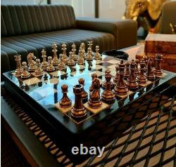 Luxury Classic Zamak Chess Set Bronze Silver Special Wooden Marble Chess Box