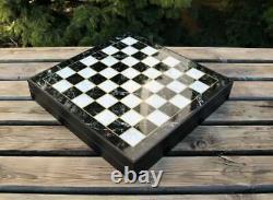 Luxury Marble Chess Set Classic Zamak Stones Bronze Silver Chess Box 14,1 inch