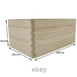 Medium Wooden Storage Box With Lid / Pinewood Memory Keepsake Trunk / Decoupage