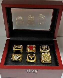 Michael Jordan Chicago Bulls 6 Championship Ring Set With Wooden Display Box