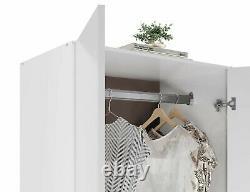 Modern 2 Door White High Gloss Wardrobe + Chest of Drawer MDF Wooden Bedroom Set