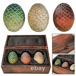 NEW HBO Game of Thrones Authentic Prop Dragon Egg Collector Wooden Box Set