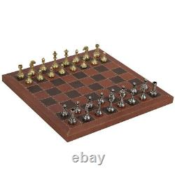 NEW Italfama Chess Set Metal Pieces/Leather Board/Wooden Box