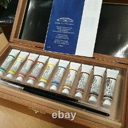 New WINSOR & NEWTON Artists' Water Colour TUBE WOODEN BOX 10 tubes 2 brush SET