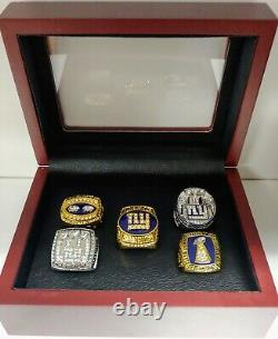New York Giants 5 Championship Ring Set With Wooden Box. Manning Simms Taylor