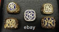 New York Yankees 5 World Series Ring Set With Wooden Display Box. Derek Jeter