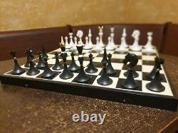 Olympic Soviet Chess set Russian Vintage USSR wooden plastic antique 1977! Box