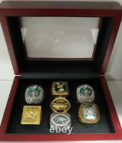 Philadelphia Eagles 7 Championship Custom Ring Set W Wooden Box. Foles McNabb