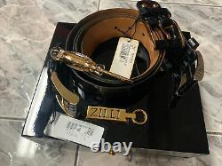 Pre-owned Zilli Alligator Belt Brass Buckle Wooden Box Set