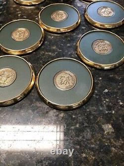 Presidents Club Leather/Brass Coaster Set in Wooden Box RARE Merrill Lynch Vtg