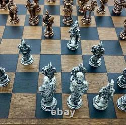 Puzzle Box Wooden Chess Set with Trojan War metal chess pieces Handmade Wood Art