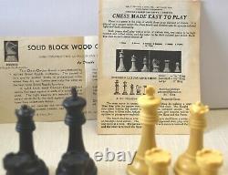 RARE, Old DRUEKE CHESS Set Weighted 36H withOriginal Wood Box. The Players Choice