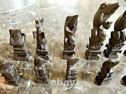 RARE VINTAGE SUNDA ISLANDS (BALI) HAND CARVED WOOD FROGS CHESS SET WithSTORAGE BOX