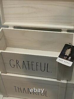 Rae Dunn White Washed Wood Box Hinged Lid Set Grateful Thankful & Blessed NEW