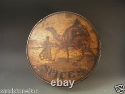 Rare Antique Spice box trimmed / tin ARABIAN CAMEL TOP LID Newark, N. J. SET OF 8
