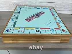 Rare Wooden Board Game Box Monopoly Cribbage Chess Checkers Cluedo Deluxe Set