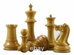 Reproduction 1850-55 Staunton 4.4 in Antiqued Box Wood and Ebonized Chess Set