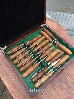 S J Addis Vintage Wood Carving Chisels And Gouges Set Of 19 In Wooden Box