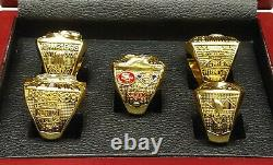 San Francisco 49ers Super Bowl 5 Ring Set With Wooden Box. Montana Rice Young
