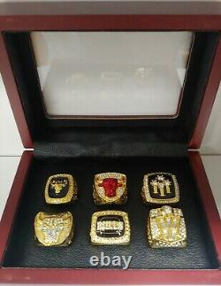 Scottie Pippen Chicago Bulls Championship 6 Ring Set WITH Wooden Box
