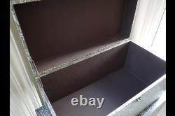 Set Of 3 Trunks Blanket Storage Boxes Chests Silver Embossed Chic Vintage