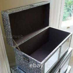 Set Of 3 Trunks Blanket Storage Boxes Chests Silver Embossed Mirrored Fronts