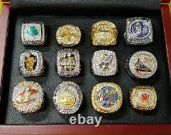 Set of 12 NBA Championship Basketball Rings 2008-2019 w Wooden Display Box