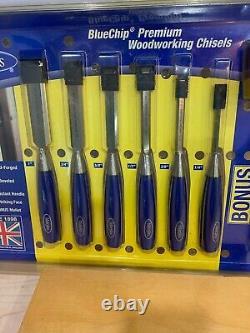Set of Six Marples Blue Chip Chisel Set Wooden Mallet Marples Chisel Box