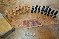 Small Antique Regency St George Chess Set Complete Very Good Condition & Boxed