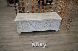 Solid Mango Wood White Wash Hand Carved Storage Box or Ottoman with Latch
