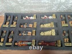 Stunning Celtic / Viking Chess Set. Great detail. Handpainted. Brand New Boxed